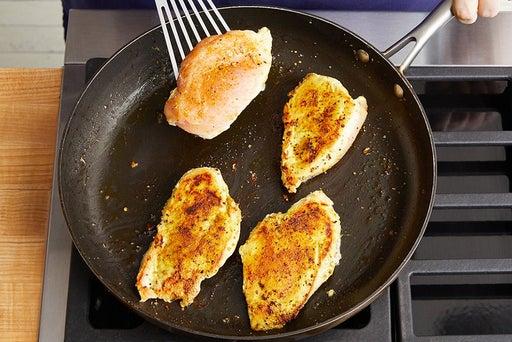 Cook & slice the chicken: