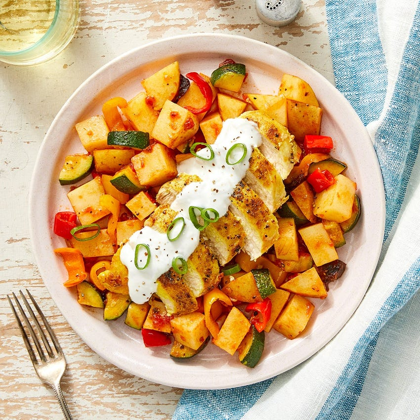 Vadouvan Chicken & Saffron Potatoes with Garlic Yogurt & Tomato-Prune Sauce