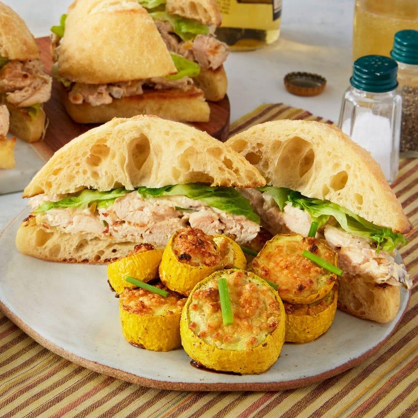 Chicken Salad Sandwiches with Parmesan-Garlic Summer Squash