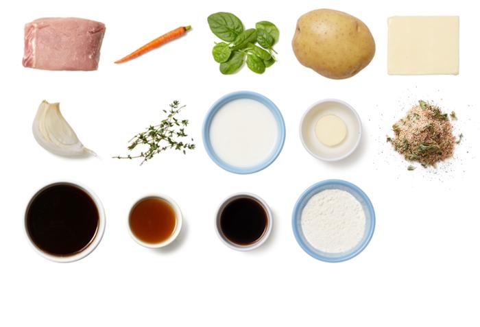 Pork Roast & Thyme Gravy with Cheesy Spinach & Potato Mash