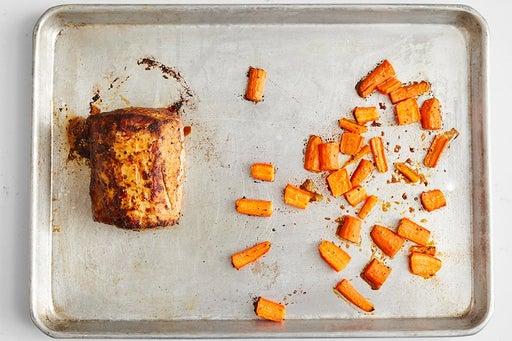 Roast the carrots & pork: