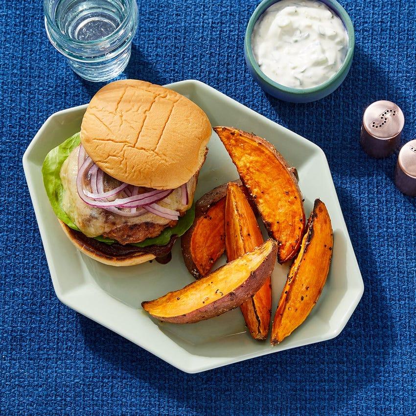 BBQ Turkey Burgers with Roasted Sweet Potato Wedges & Scallion Sour Cream
