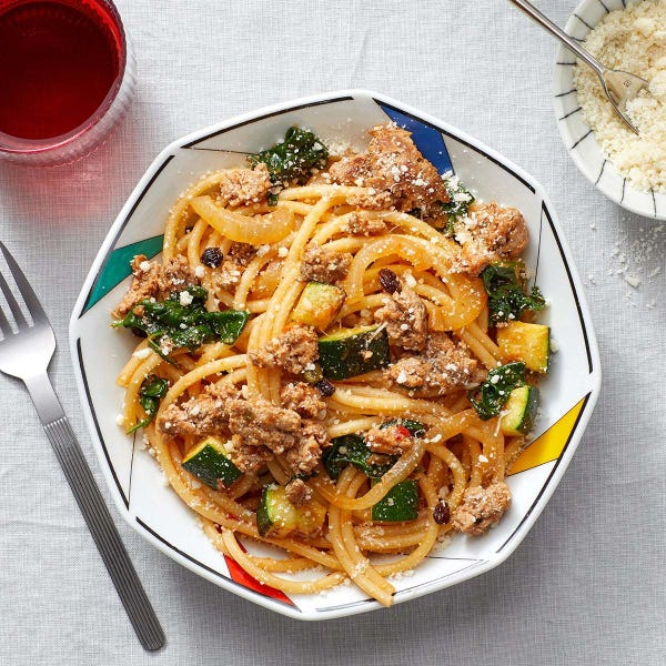 Spiced Pork & Bucatini Pasta with Zucchini & Spinach