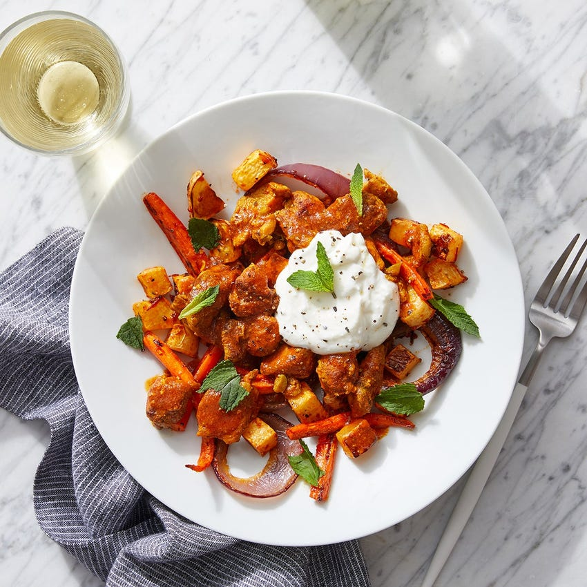 Middle Eastern-Style Chicken with Harissa-Roasted Vegetables