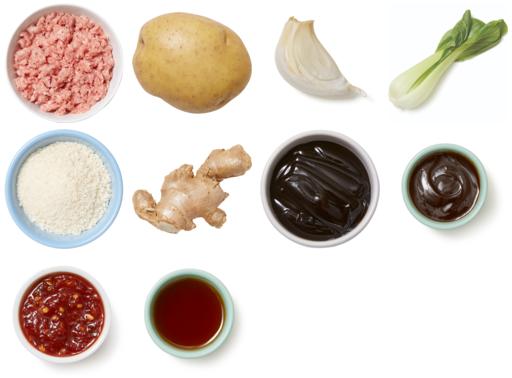 Glazed Pork Meatloaf with Sesame Mashed Potatoes & Bok Choy