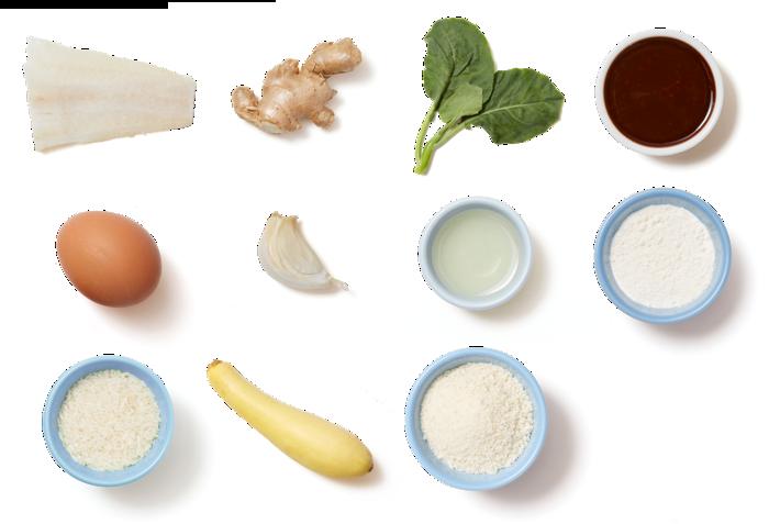 Crispy Cod & Garlic Rice with Gai Lan & Yakiniku Sauce