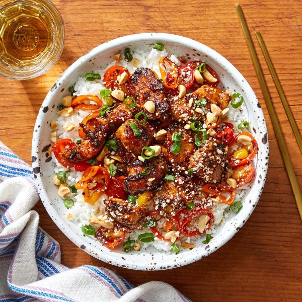 Spicy Chicken & Rice Bowls with Tomatoes, Sweet Peppers & Peanuts
