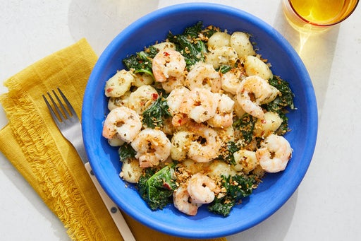 Salsa Verde Shrimp & Gnocchi with Crispy Almond Breadcrumbs
