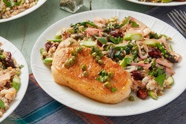 Caper-Butter Pork Chops & Farro Salad with Asparagus, Dried Cherries, & Goat Cheese