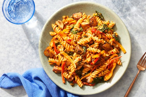 Chickpea Pasta & Calabrian-Tomato Sauce with Mushrooms, Spinach & Peppers