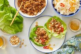 Sweet Chili Pork Lettuce Cups with Pepper Rice & Peanuts