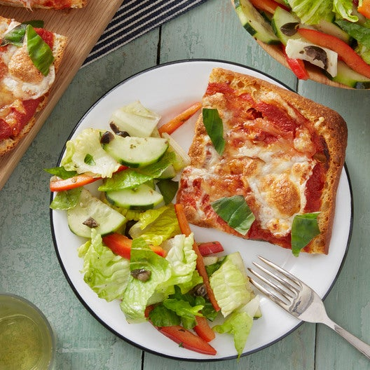 Three-Cheese Focaccia Pizzas with Marinated Cucumber & Bell Pepper Salad