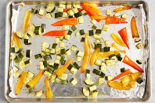 Roast the zucchini & peppers: