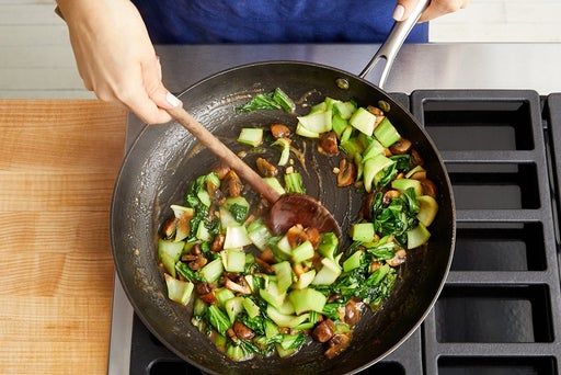 Cook the mushrooms & bok choy: