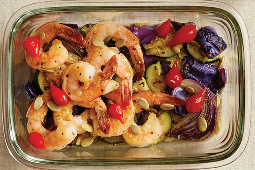Finish & Serve the Seared Shrimp & Vegetables: