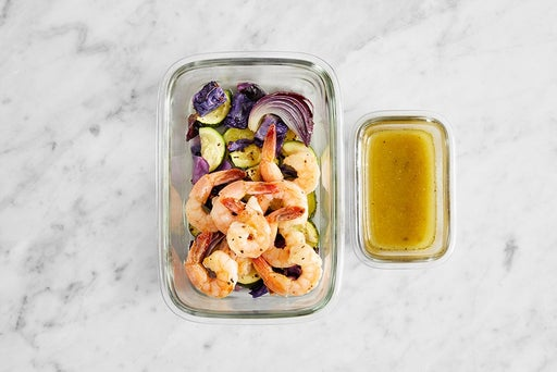 Assemble & Store Seared Shrimp & Vegetables: