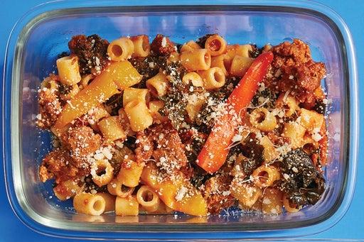 Finish & Serve the Hot Italian Pork Sausage & Pasta: