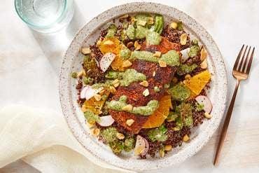 Discontinued: Mexican-Spiced Salmon & Cilantro Sauce with Quinoa, Shishito Peppers & Orange