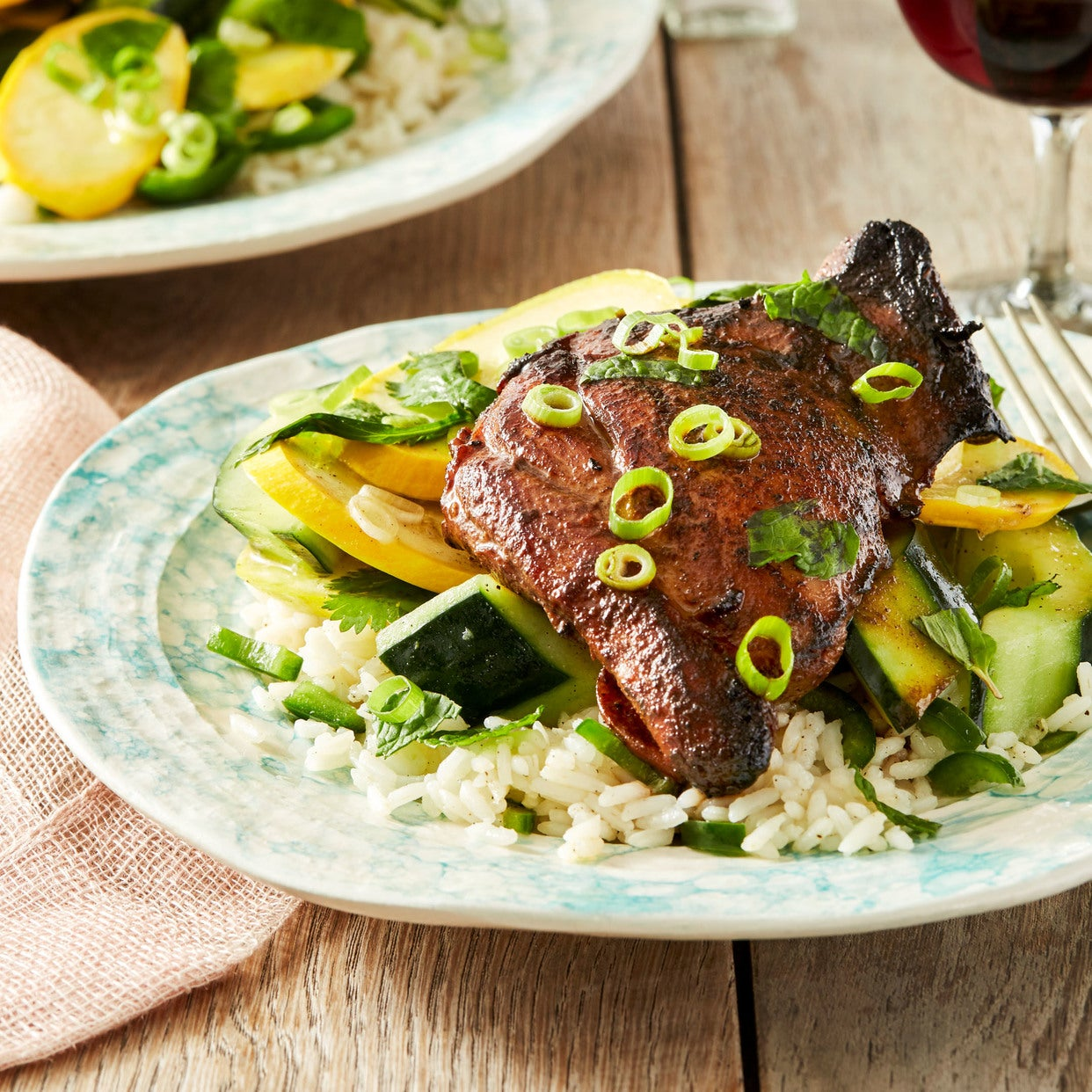 Soy-Marinated Chicken Thighs with Jalapeño Rice & Summer Squash