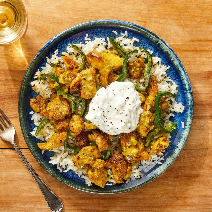 Curried Chicken, Poblano & Figs with Mustard Seed Rice