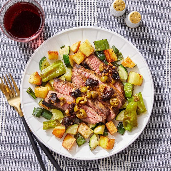Ras El Hanout Steak with Roasted Vegetables & Crispy Saffron Potatoes