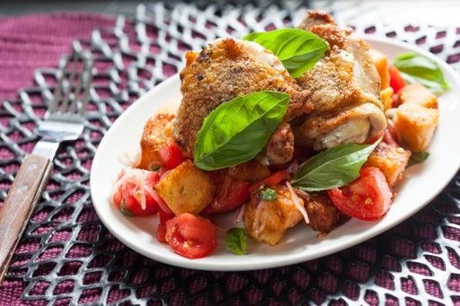 Marjoram-Garlic Chicken with Jersey Tomato Panzanella