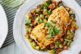 Cod & Tomatillo Salsa with Summer Squash & Sweet Potato Hash