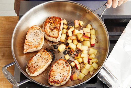 Cook the pork & apple: