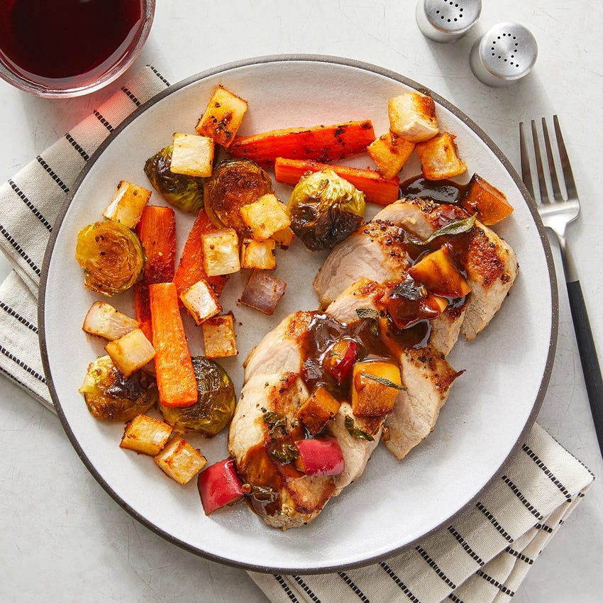 Seared Pork & Roasted Vegetables with Apple & Sage Pan Sauce