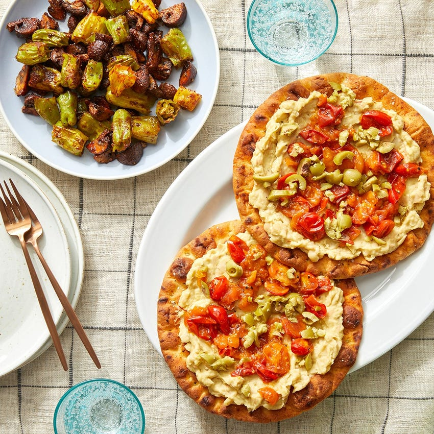 White Bean Pita Flatbreads with Saffron, Tomatoes & Olives