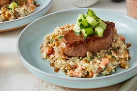 Pork Chops & Honey-Mustard Pan Sauce with Creamy Barley Salad
