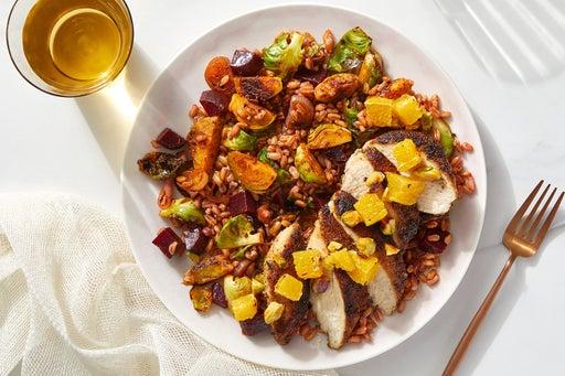 Dukkah-Spiced Chicken & Orange Salsa with Brussels Sprouts & Farro