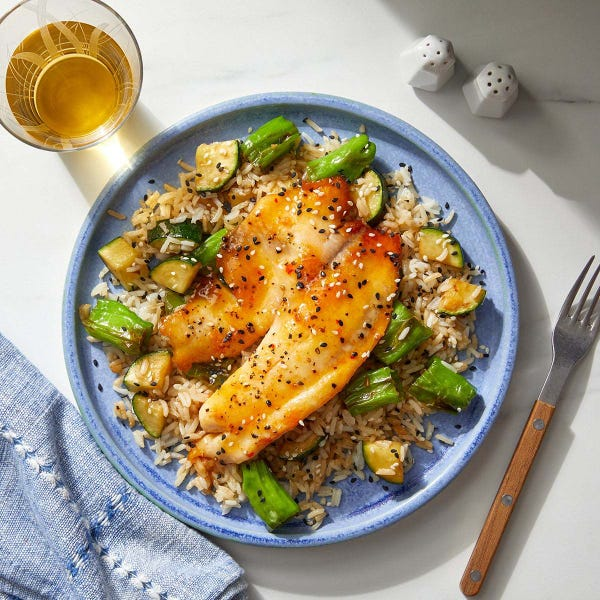 Sweet Chili & Butter-Glazed Tilapia over Rice, Zucchini & Shishito Peppers
