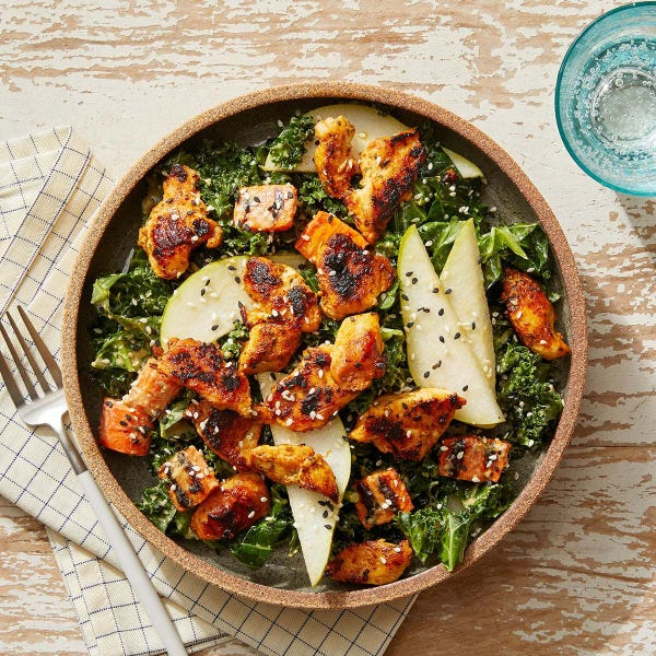 Seared Chicken & Kale Salad with Pear & Sesame-Dijon Dressing