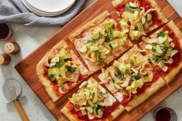Fresh Mozzarella Pizza & Romaine Salad with Spicy Chile Dressing