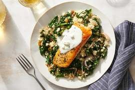 Oregano Salmon & Tzatziki with Couscous, Raisins & Kale