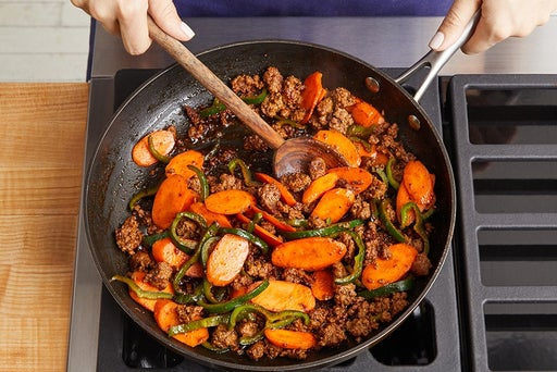 Cook the beef & vegetables: