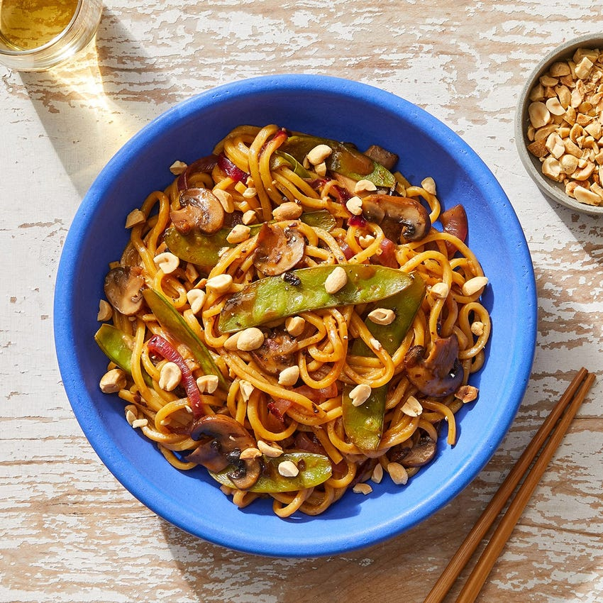 Sweet & Sour Noodles with Snow Peas, Mushrooms & Peanuts