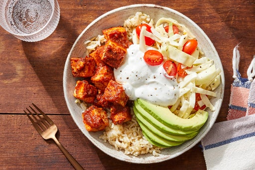 Spicy Chipotle Tofu & Rice Bowls with Avocado & Marinated Vegetables