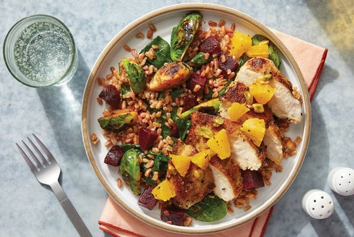 Dukkah-Spiced Chicken & Orange Salsa with Brussels Sprout & Spinach Farro