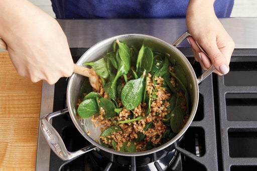 Cook the farro & wilt the spinach: