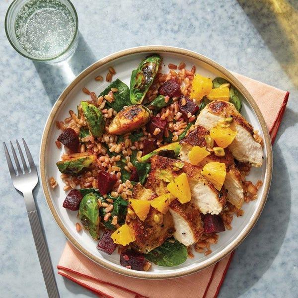 Dukkah-Spiced Chicken & Orange Salsa with Brussels Sprout, Spinach & Farro