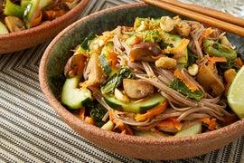 Sesame Soba Noodles with Gai Lan, Mushrooms, & Ginger-Lime Peanuts