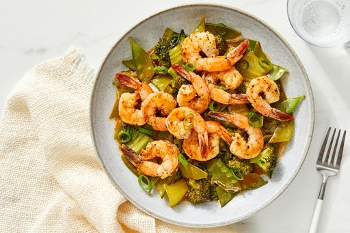 Ginger Shrimp with Broccoli, Snow Peas & Bok Choy