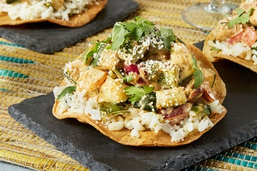 Spicy Elote-Style Vegetable Tostadas with Summer Squash, Poblano Pepper, & Cilantro Rice