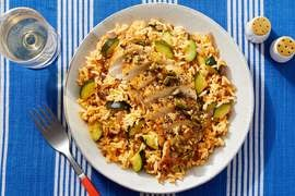 Oregano Chicken & Garlic-Olive Topping with Harissa Rice & Zucchini
