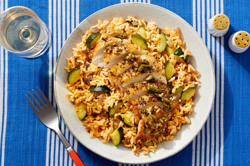 Oregano Chicken & Garlic-Olive Topping with Harissa Rice & Zucchini