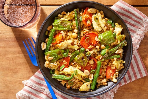 """Vegetable & Freekeh """"Fried Rice"""" with Shishito Peppers & Peanuts"""