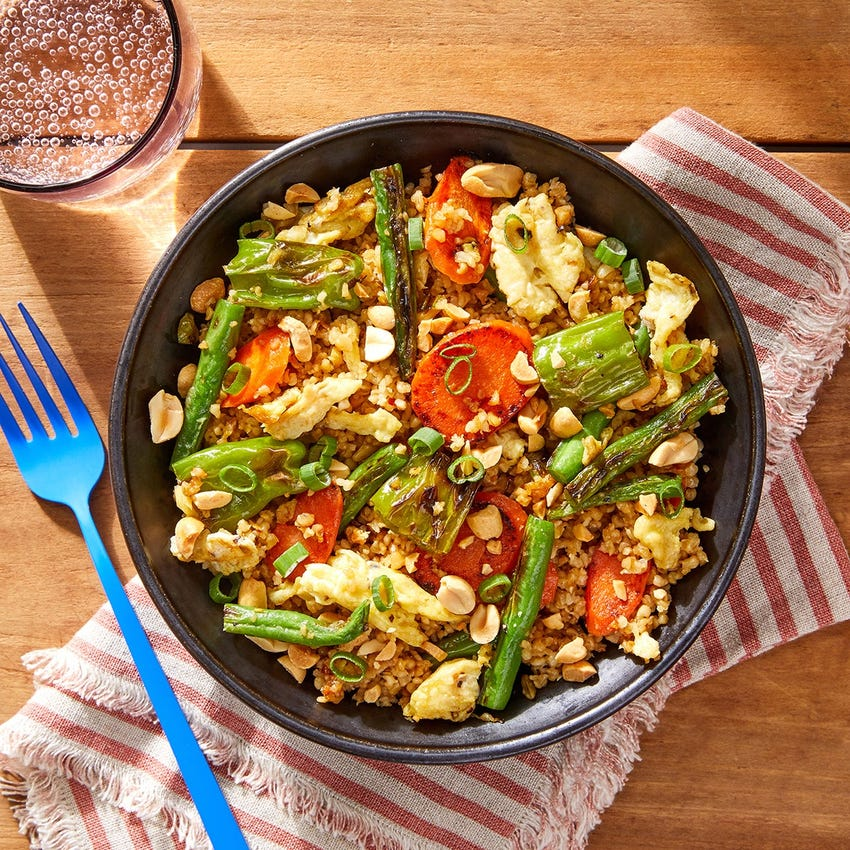 "Vegetable & Freekeh ""Fried Rice"" with Shishito Peppers & Peanuts"