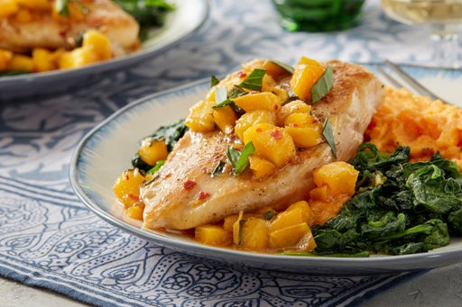 Chicken & Honey-Glazed Peach with Sweet Potato, Spinach, & Thai Basil